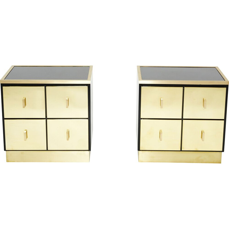 Pair of vintage brass lacquer bedside tables by Luciano Frigerio, Italy 1970s