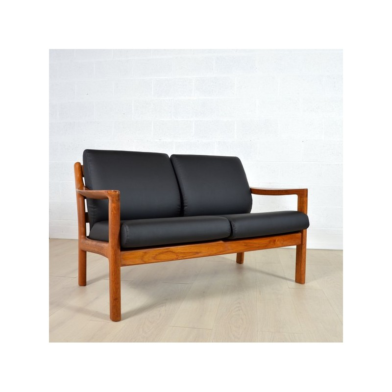 Silkeborg Denmark two seater sofa in black faux leather, Johannes ANDERSEN  - 1960s