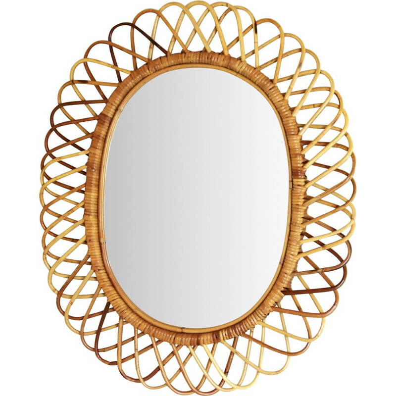 Vintage bamboo wall mirror by Franco Albini 1960s