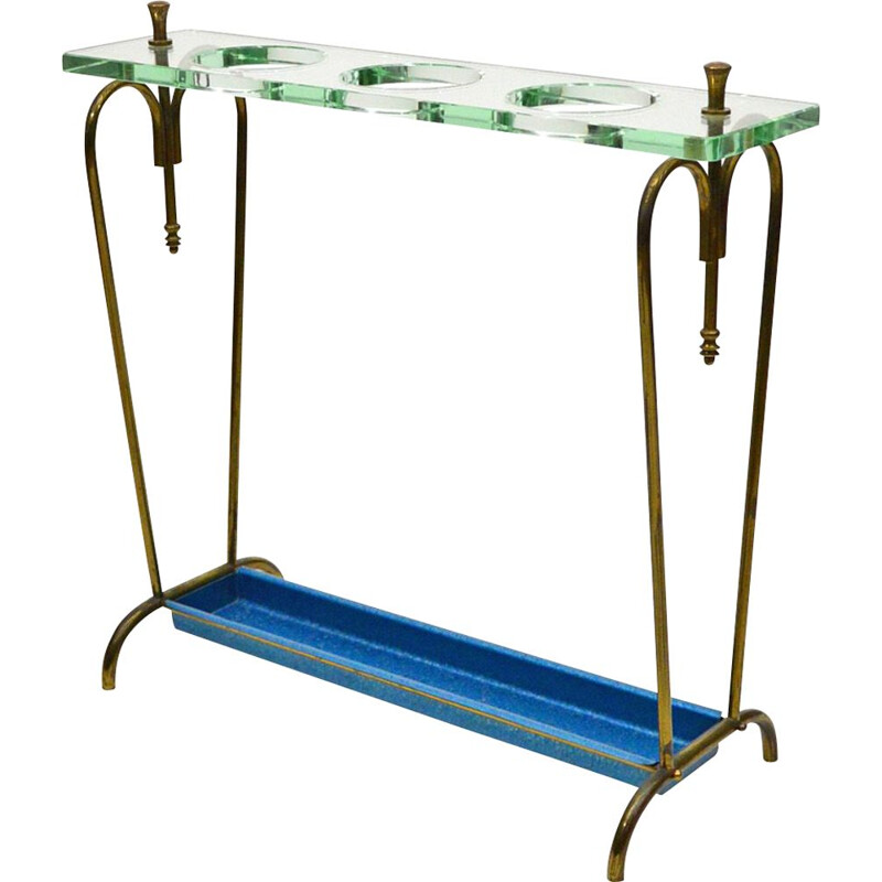 Vintage Fontana Arte Umbrella Stand In Crystal And Brass 1940s