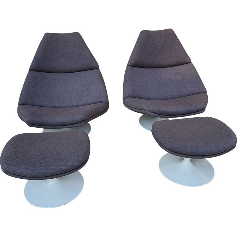 Pair of vintage G.Harcourt armchairs and footstools for Artifort