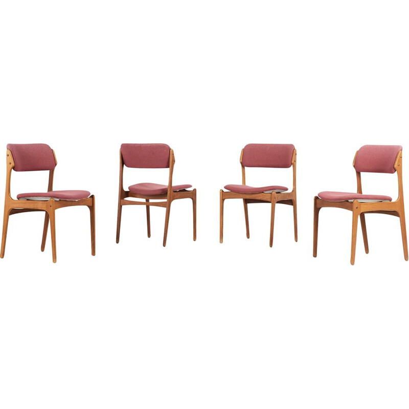 Set of 4 vintage chairs model 49 by Erik Buch for O.D. Mobler