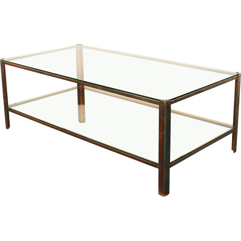 Vintage double top coffee table by Jacques Quinet 1960s