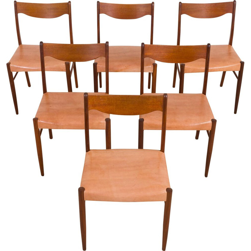 Set of 6 vintage chairs GS60 by Arne Wahl Iversen for Glyngøre Stolefabrik, Denmark 1960s