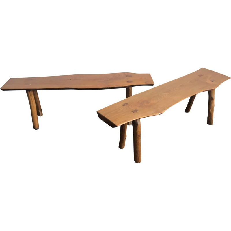 Pair of vintage solid elm benches 1970s