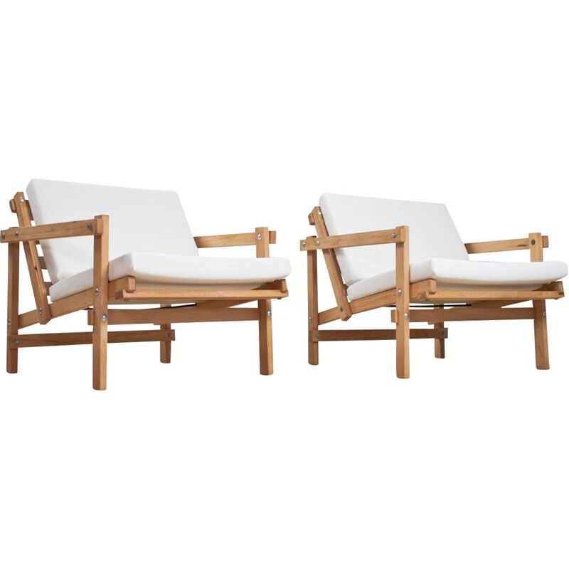 Pair of vintage Martin Visser lounge chair model Cleon white fabric and beech frame 1974s