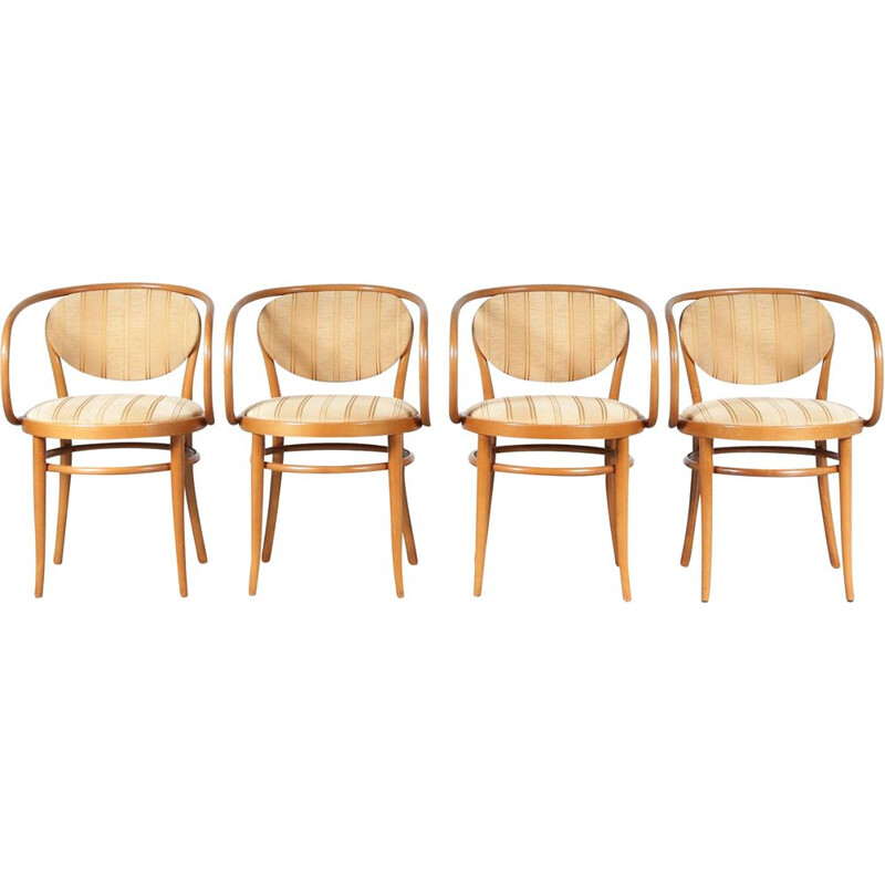 Set of 4 vintage bentwooden dining chairs by Thonet, France 1960s