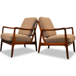 Pair of France & Son armchairs in teak and light brown fabric, Ole WANSCHER - 1960s