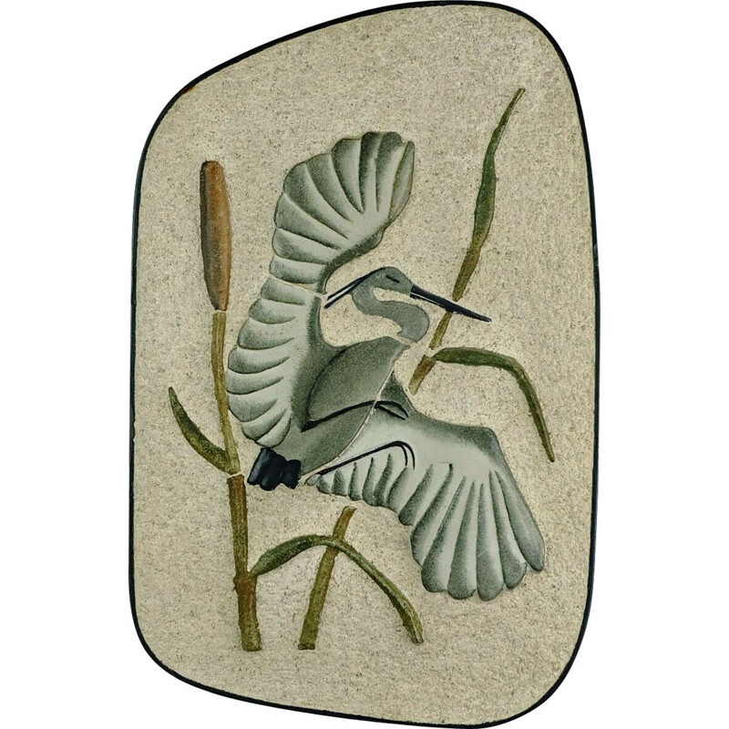 Large vintage wall tile heron in reed WGP by Kroesselbach 1950s