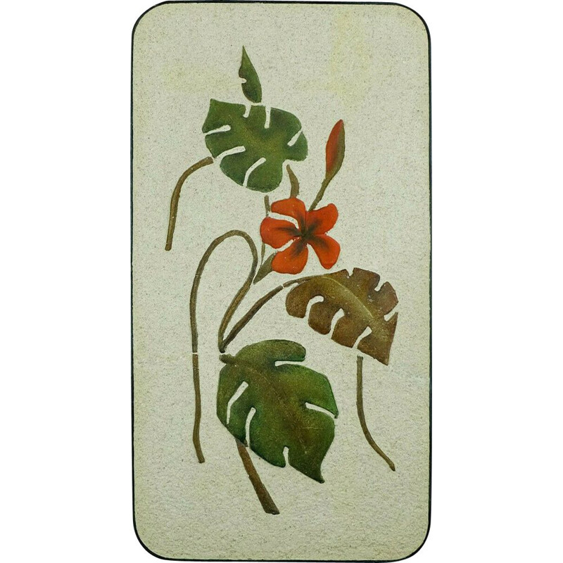 Large vintage ceramic and plaster wall tile WGP floral decor leaves and blossoms by kroesselbach 1950s