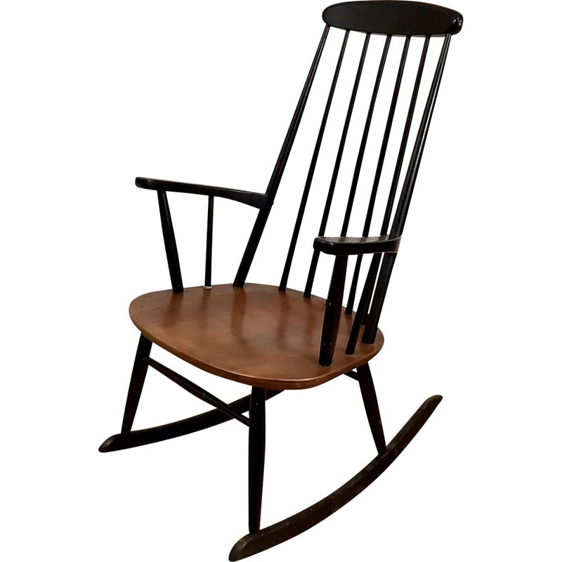Vintage teak rocking chair, Scandinavian 1960s