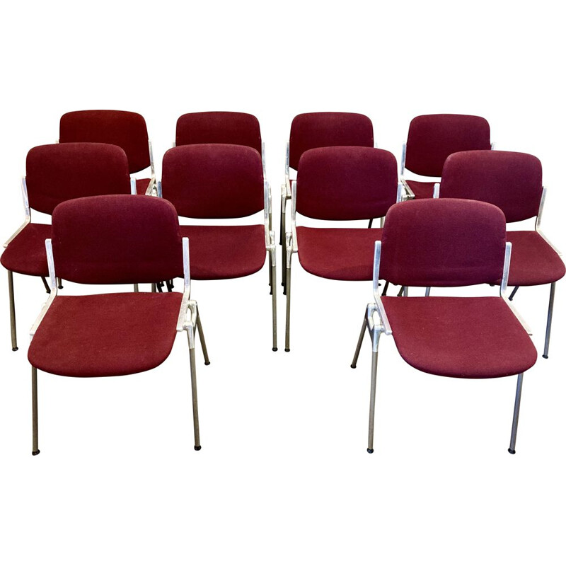 Set of 10 vintage stacking chairs by Giancarlo Piretti for Castelli