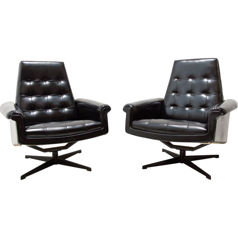 Pair of vintage leather swivel chairs by UP Zavody, Czechoslovakia 1970