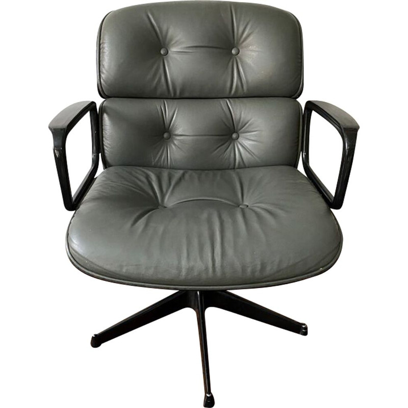 Vintage grey leather office chair by Ico Parisi 1960