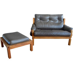 Set of a S22 sofa and a footstool, Pierre CHAPO - 1970s