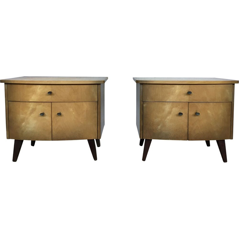 Pair of vintage night tables with compass legs 1950s