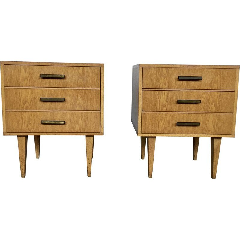 Pair of vintage bedside tables, French 1950s