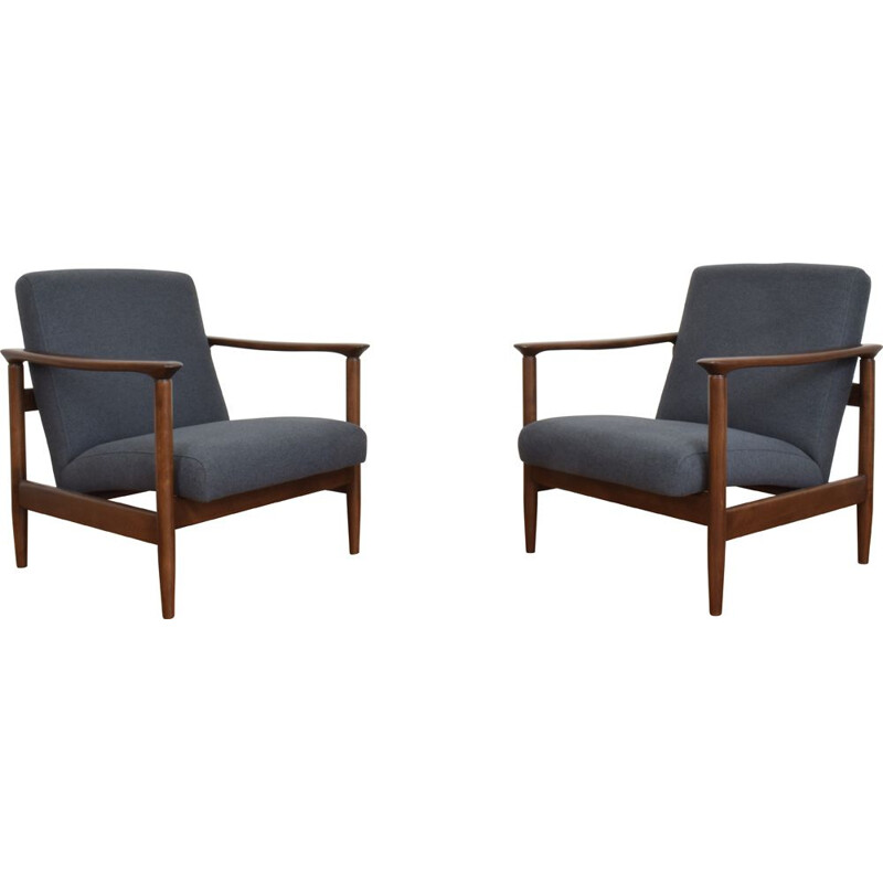 Pair of vintage Armchairs by Edmund Homa, Polish 1960s