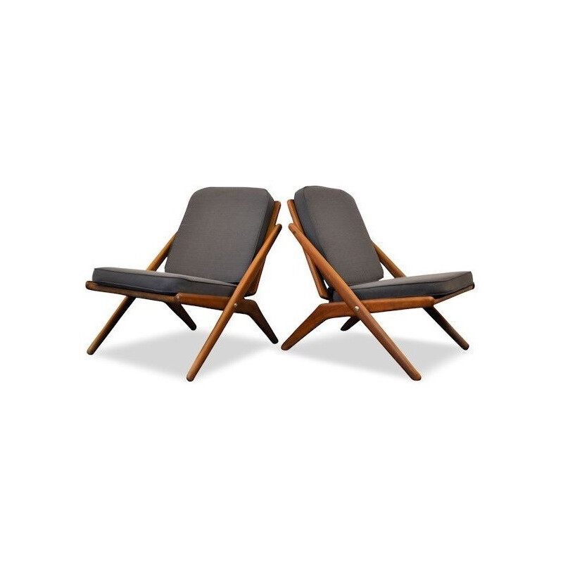 "Pair of Jutex ""Scissors"" lounge chairs in teak and dark grey fabric, Arne Hovmand OLSEN - 1960s"