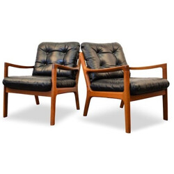 Pair of Cado easy chairs in solid teak and black leather, Ole WANSCHER - 1960s