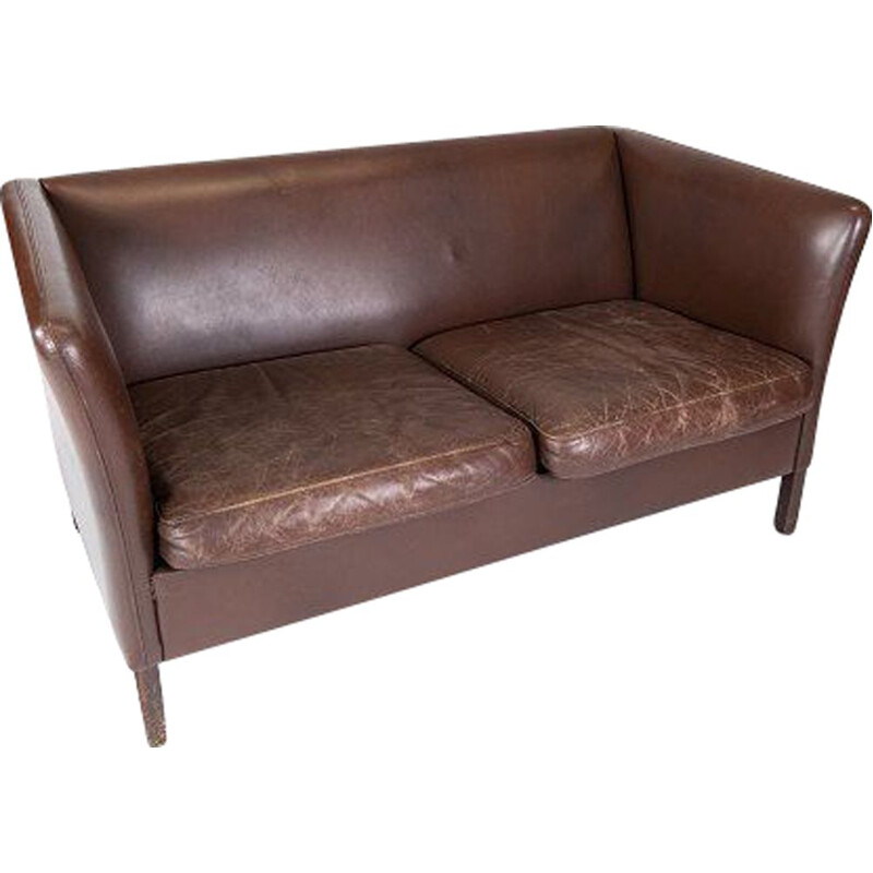 Vintage 2 seater sofa upholstered with dark brown leather by Stouby Furniture, Danish 1960s