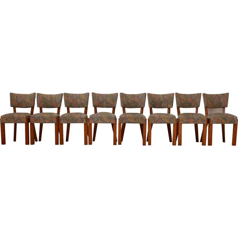 Set of 8 vintage Art Deco Dining Chairs to Charles Dudouyt, French 1940s