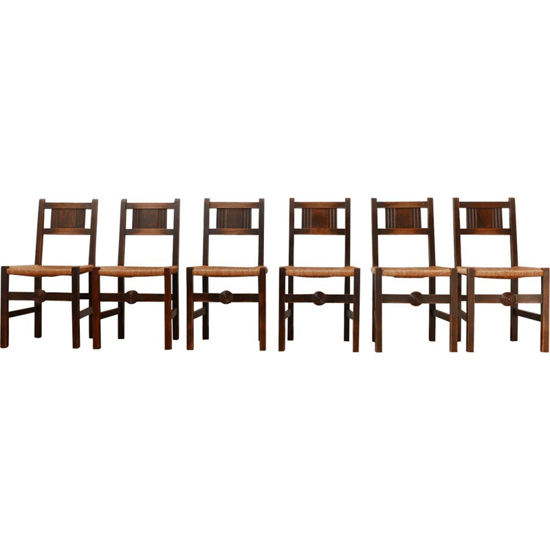 Set of 6 vintage Dining Chairs Charles Dudouyt, French 1940s