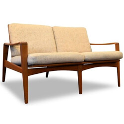 Comfort Mobel 2-seater sofa in teak and beige fabric, Arne Wahl IVERSEN - 1960s