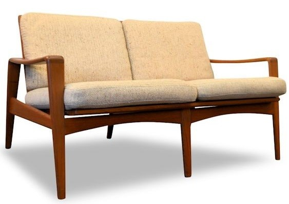comfort mobel 2 seater sofa in teak and beige fabric arne wahl iversen 1960s design market. Black Bedroom Furniture Sets. Home Design Ideas