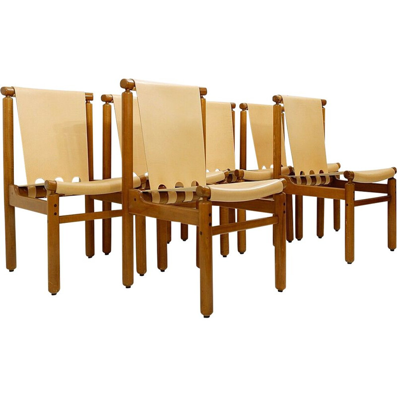 Set of 6 vintage Leather Dining Chairs by Ilmari Tapiovaara for La Permanente Mobili Cantù, Italian