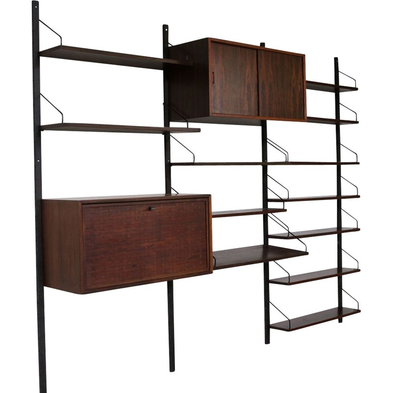 Vintage rosewood wall system by Cadovius for Royal Denmark