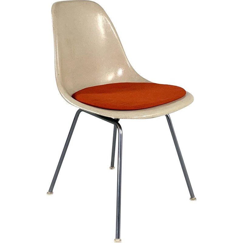 Vintage DSX Side Chair with red cushion by Charles & Ray Eames for Herman Miller 1960s