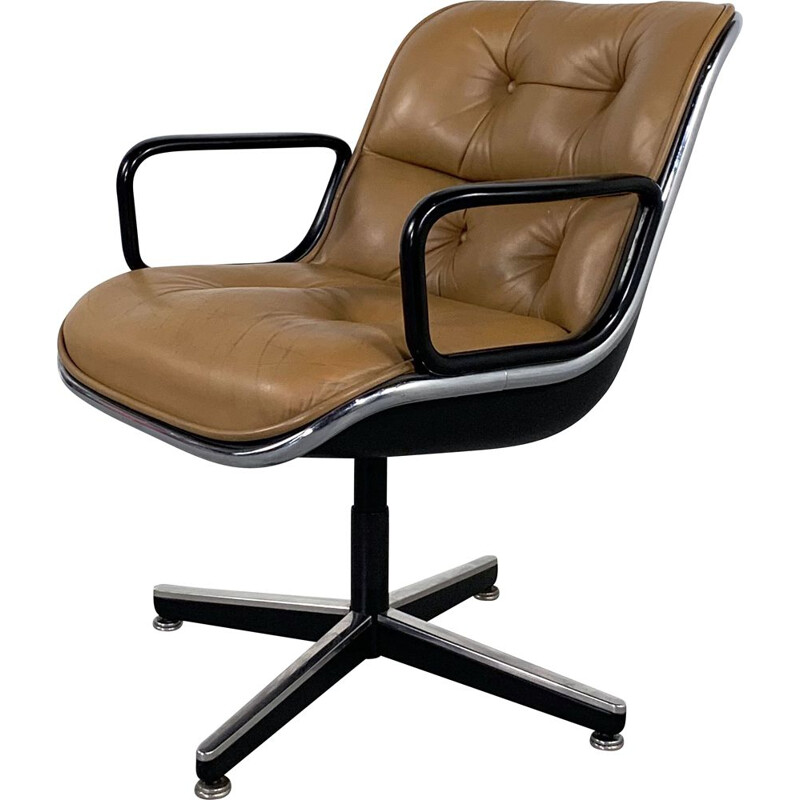 Vintage Camel Leather Office Chair by Charles Pollock for Knoll 1970s
