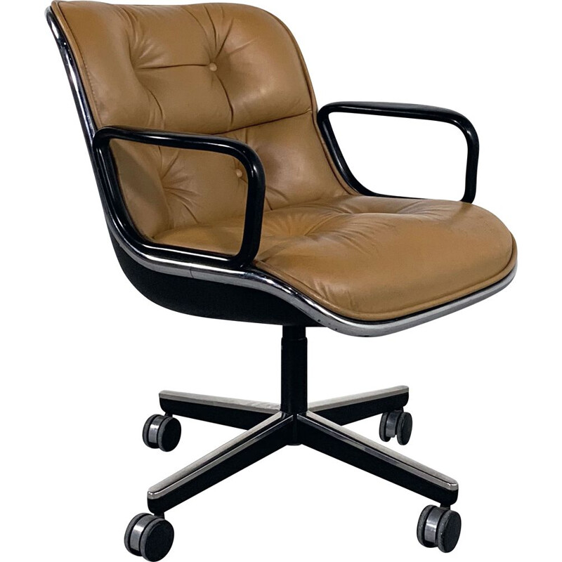 Vintage Camel Leather Office Chair on wheels by Charles Pollock for Knoll 1970s