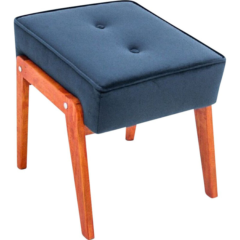 Vintage walnut Blue Footrest, Poland 1960s