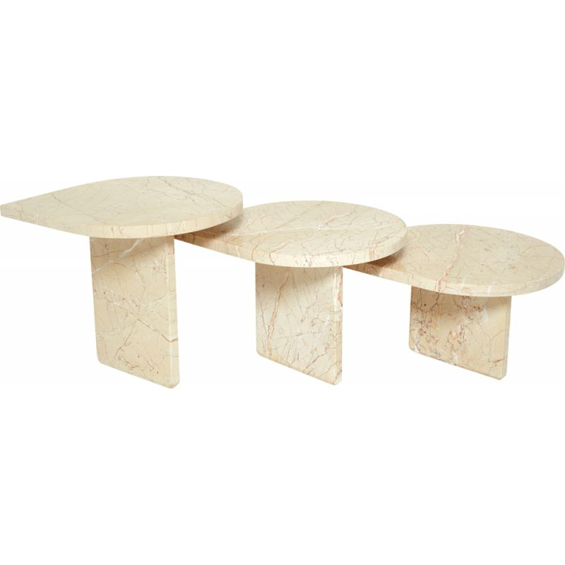 Set of 3 vintage Sicilian pink marble coffee tables, France 1970s