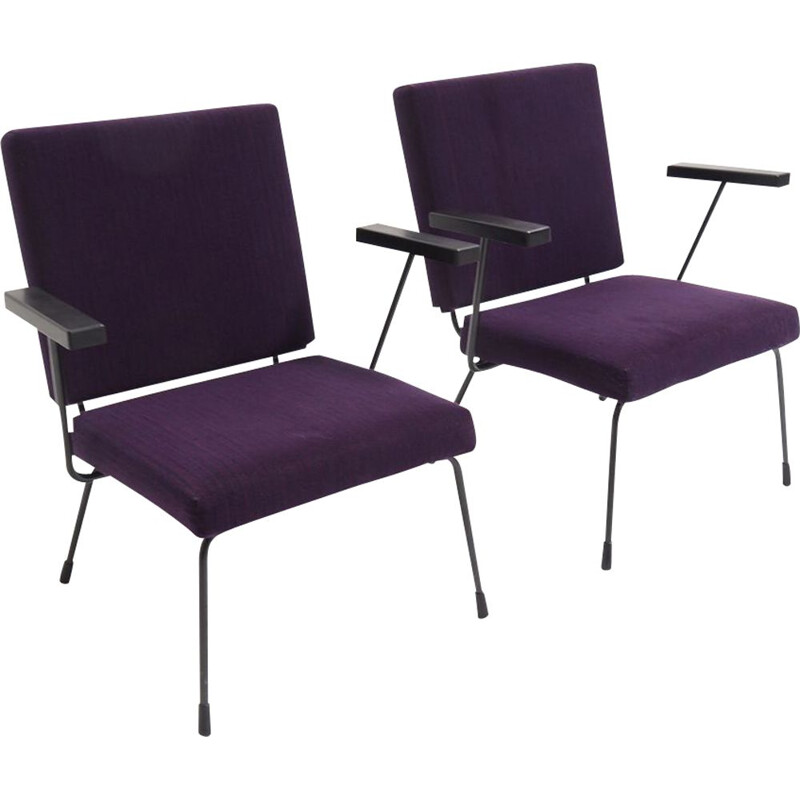 """Set of vintage armchair """"1401"""" by Wim Rietveld for Gispen 1954s"""