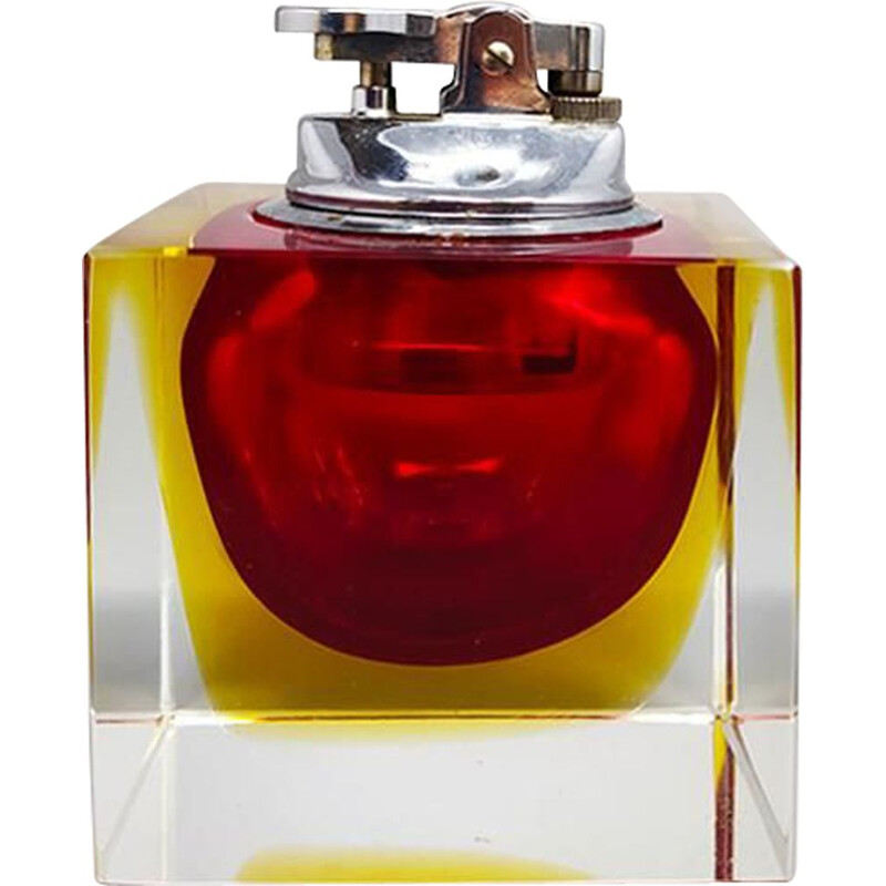 Vintage Table Lighter in Murano Sommerso Glass By Flavio Poli for Seguso 1960s