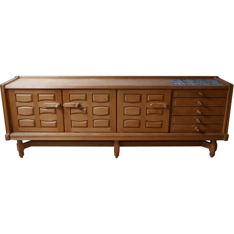 Vintage Oak and Ceramic Credenza Sideboard by Guillerme et Chambron, French 1960s