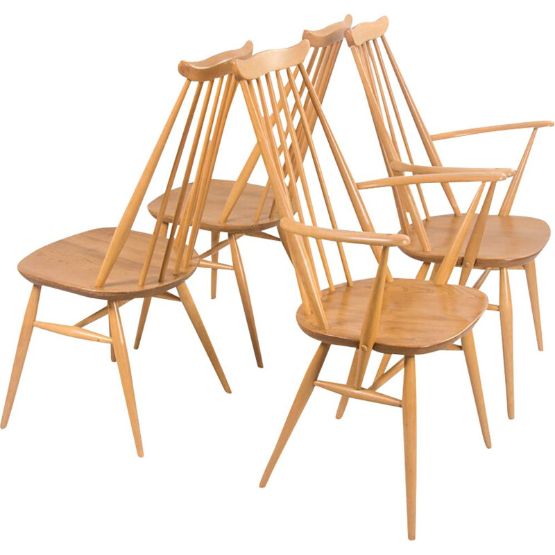 Set of 4 vintage Moustache chairs by Lucian Ercolani for Ercol, UK 1960s