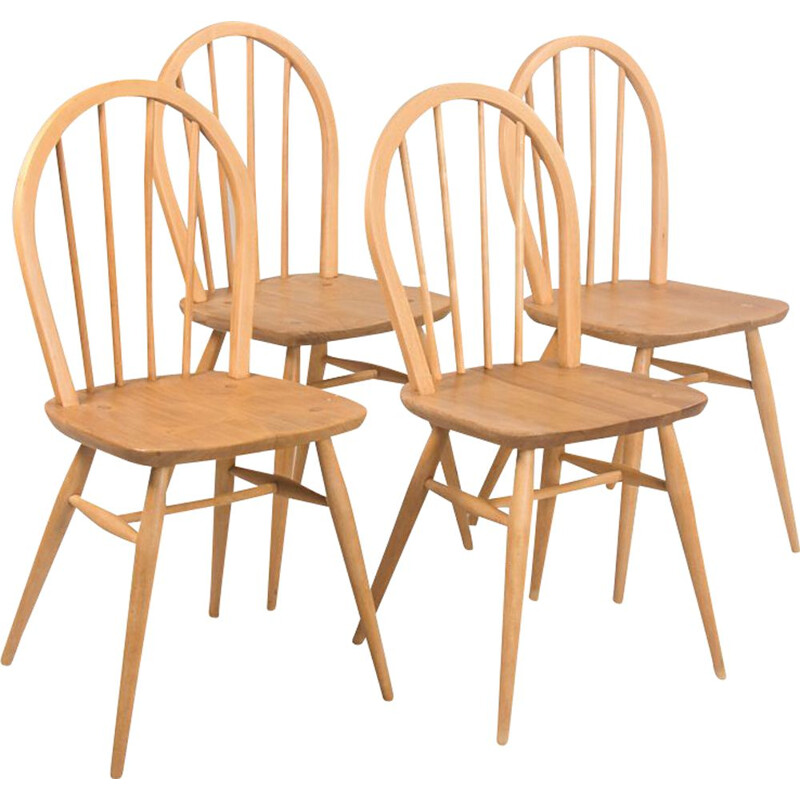 Set of 4 vintage Windsor chairs by Lucian Ercolani for Ercol, UK 1960s