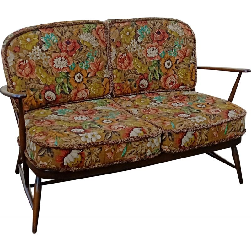Vintage two-seater bench Ercol by Lucian Ercolan 1950s
