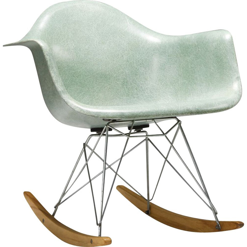 Vintage seafoam rocker by Charles & Ray Eames 1955s