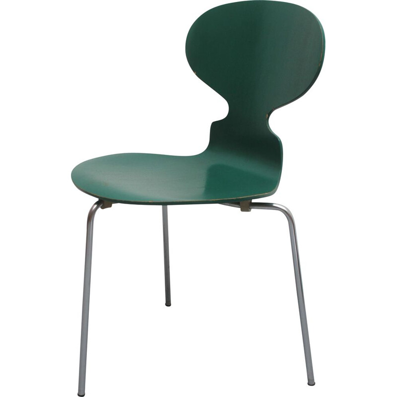 Vintage chair 3101 green by Arne Jacobsen for Fritz Hansen 1960s