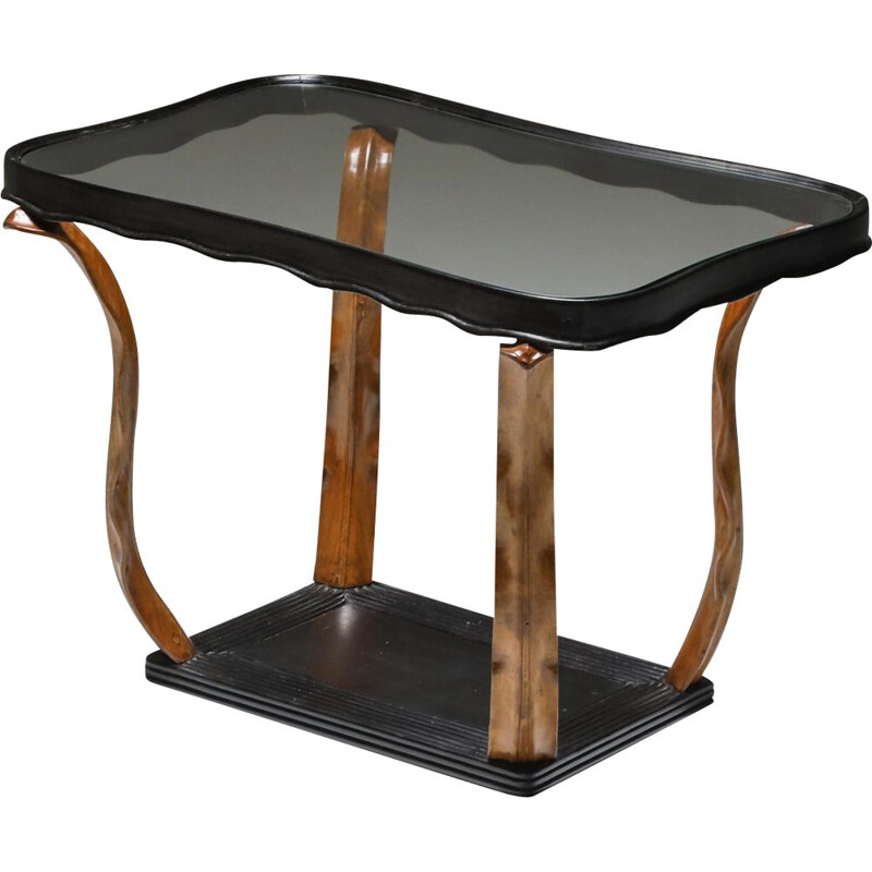 Vintage Art Deco occasional table with glass top by Paolo Buffa, Italian