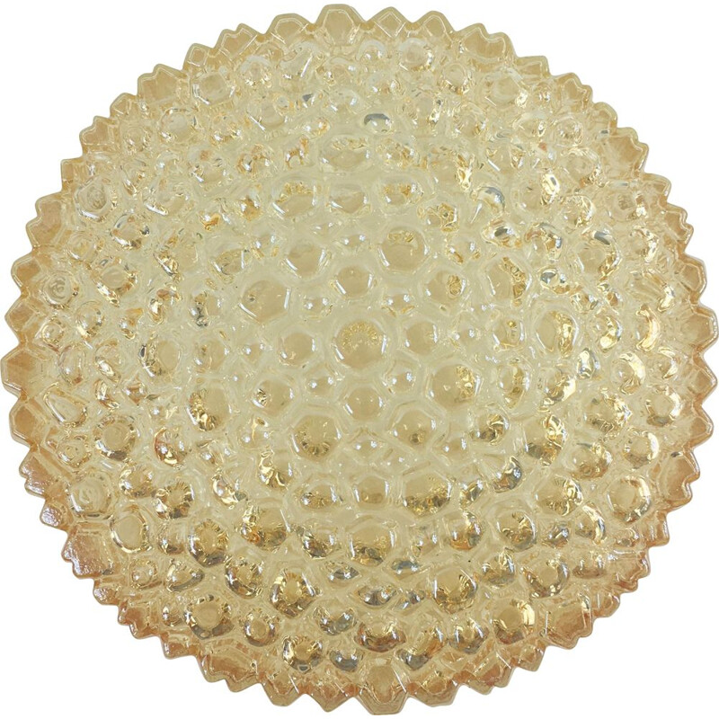 Large vintage Glass Flush Mount by Helena Tynell for Glashutte Limburg, 1960s