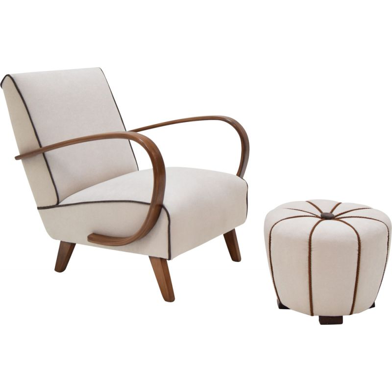 Vintage Armchair and Tabouret by Jindrich Halabala, 1950s