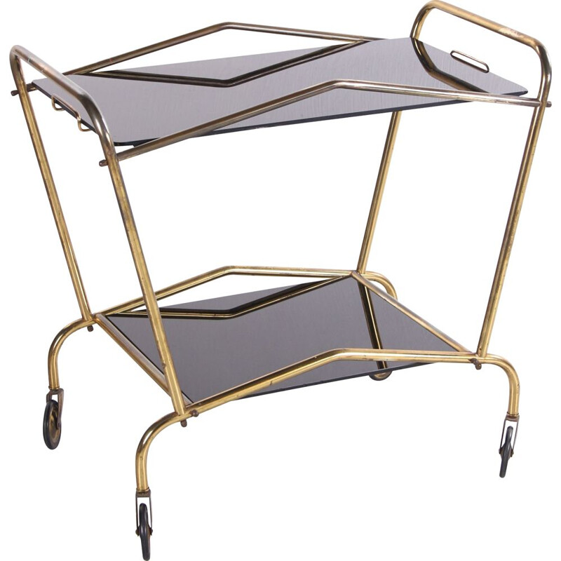 Vintage brass and glass serving trolley French 1950s