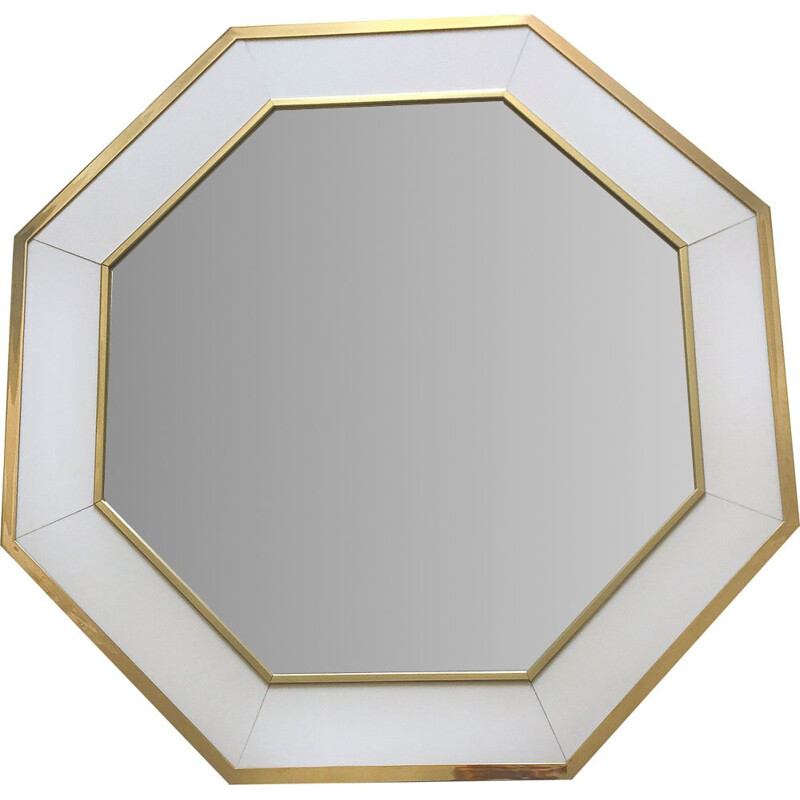 Vintage white lacquered mirror by J.C Mahey Romeo 1970