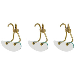 Set of three coat hooks in brass and glass - 1950s